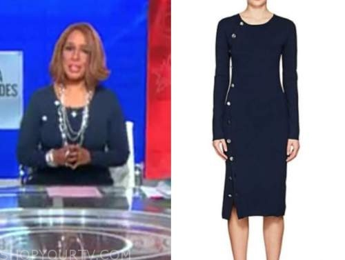 gayle king, cbs this morning, navy blue button knit dress