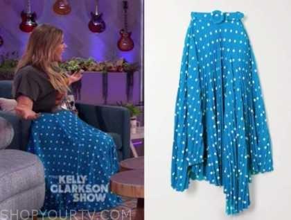 kelly clarkson, blue polka dot skirt, the kelly clarkson show