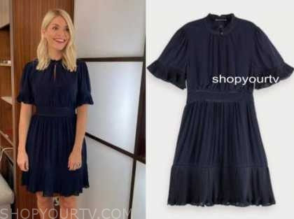 holly willoughby, this morning, navy blue dress