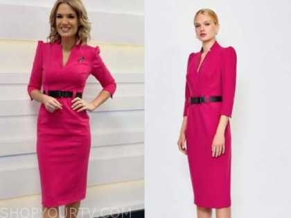 charlotte hawkins, hot pink belted pencil dress, good morning britain