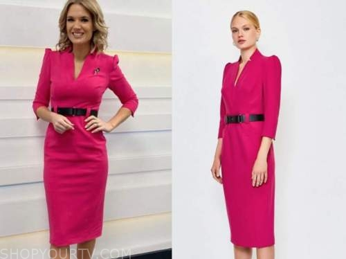 charlotte hawkins, hot pink belted pencil dress, good morning britain