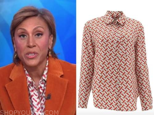 robin roberts, good morning america, red printed shirt