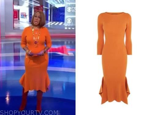 gayle king, orange ribbed knit midi dress, cbs this morning
