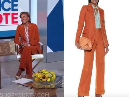 robin roberts, orange corduroy pant suit, good morning america