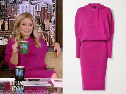 live with kelly and ryan, kelly ripa, hot pink fuschia hoodie dress,