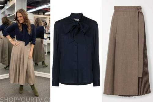 drew barrymore, drew barrymore show, navy blue tie neck blouse, brown pleated skirt
