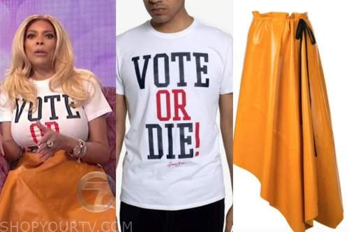 wendy williams, the wendy williams show, white vote tee, orange leather skirt