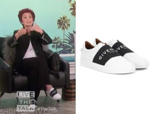 sharon osbourne, the talk, black and white sneakers