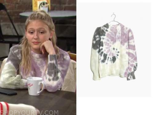 faith newman, alyvia alyn lind, the young and the restless, purple tie dye sweater