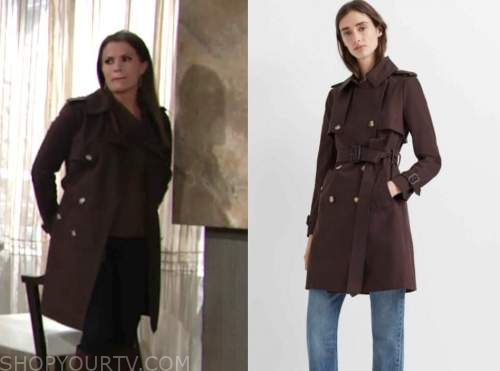 chelsea newman, melissa claire egan, brown trench coat, the young and the restless