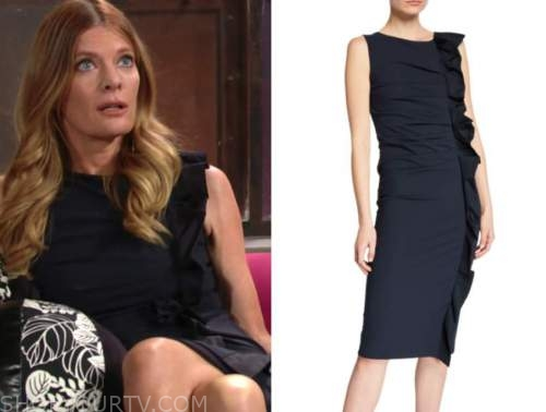 phyllis newman, michelle stafford, the young and the restless, navy blue ruffle dress