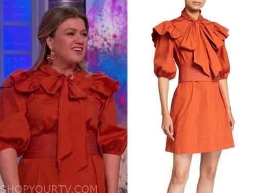 kelly clarkson, orange bow ruffle dress, the kelly clarkson show