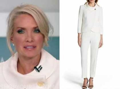 dana perino, white wrap jacket and pant suit, fox news, election coverage