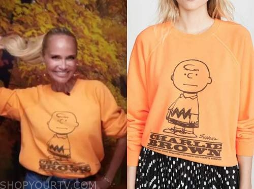 kristin chenoweth, orange Charlie Brown sweater, the kelly clarkson show