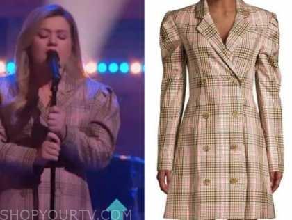 kelly clarkson, the kelly clarkson show, plaid blazer dress