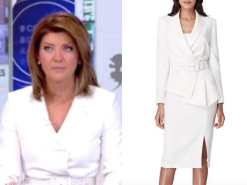 norah o'donnell, cbs news, white belted skirt suit