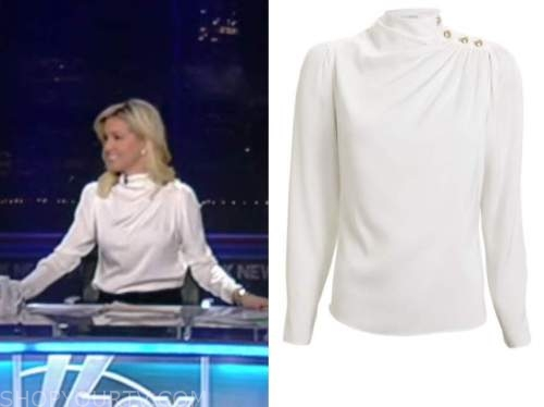 ainsley earhardt, ivory drape button shoulder top, fox and friends