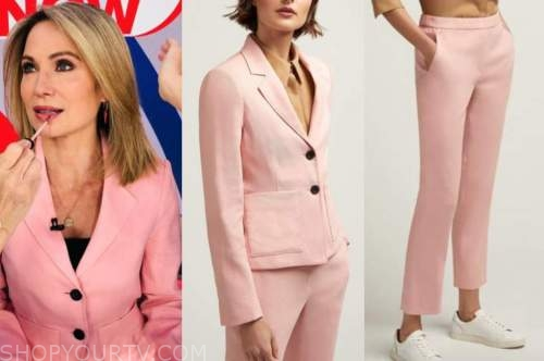 amy robach, pink blazer and pant suit, gma3, good morning america
