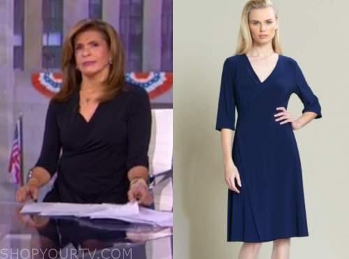 hoda kotb, the today show, navy blue wrap dress