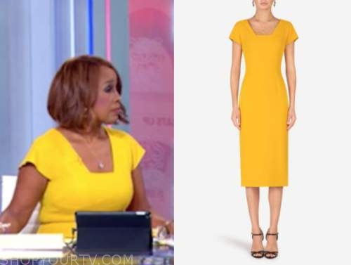 gayle king, yellow cap sleeve sheath dress, cbs this morning, election coverage