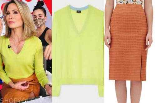 amy robach, good morning america, gma3, lime green sweater, orange leather skirt