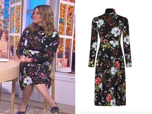 jenna bush hager, the today show, hoda and jenna, black floral turtleneck dress