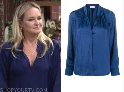 sharon newman, sharon case, the young and the restless, blue silk blouse
