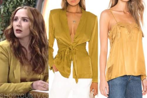 camryn grimes, mariah copeland, yellow jacket and yellow camisole top, the young and the restless