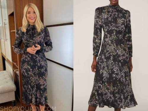holly willoughby, this morning, floral turtleneck midi dress
