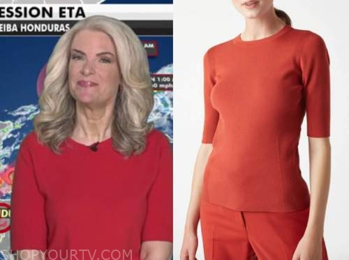janice dean, fox and friends, red short sleeve sweater