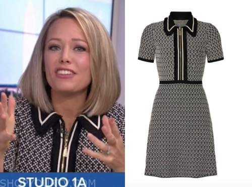dylan dreyer, black and white collar zip-front dress, the today show