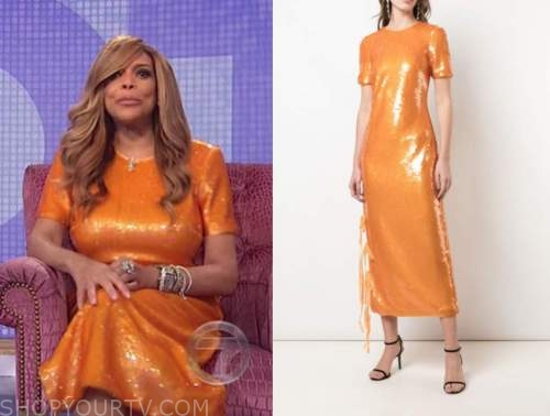 wendy williams, the wendy williams show, orange sequin midi dress