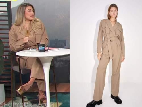 carissa culiner, beige jumpsuit, e! news, daily pop