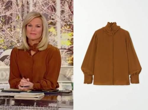 martha maccallum, fox news, brown ruffle blouse