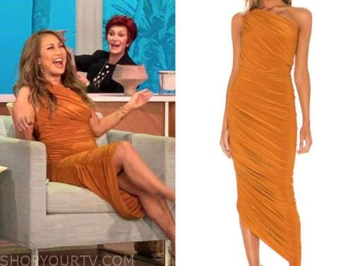 carrie ann inaba, the talk, orange ruched one-shoulder dress
