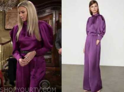 abby newman, melissa ordway, the young and the restless, purple top and purple pants