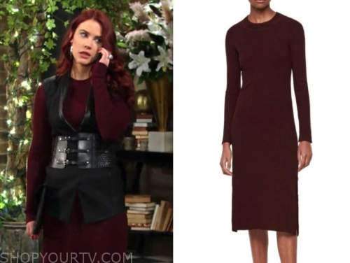 sally spectra, the young and the restless, burgundy knit long sleeve dress, courtney hope
