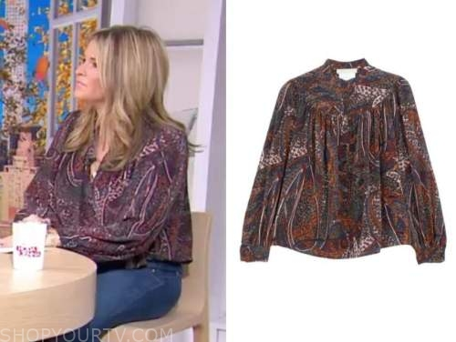 jenna bush hager, the today show, printed silk blouse