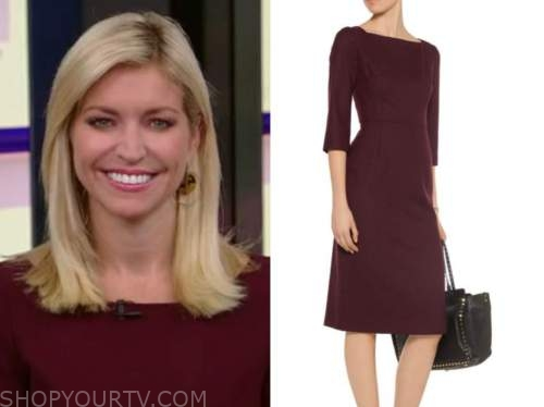 ainsley earhardt, burgundy boatneck dress, fox and friends
