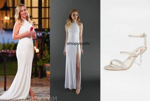 the bachelorette, white beaded gown, glitter sandals, clare crawley
