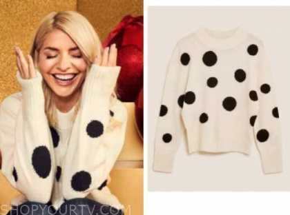 holly willoughby, this morning, polka dot sweater