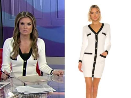 jillian mele, fox and friends, black and white cardigan sweater dress