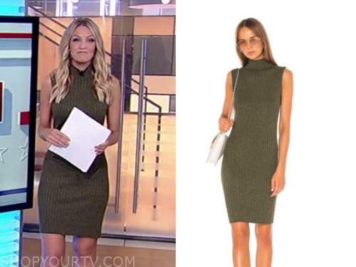 fox and friends, carley shimkus, green ribbed knit dress