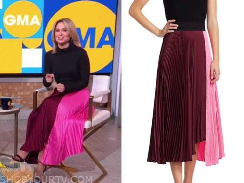 amy robach, good morning america, pink and burgundy colorblock pleated skirt