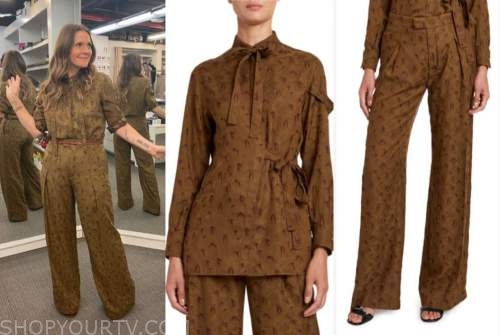 drew barrymore, drew barrymore show, green palm jacquard blouse and pants