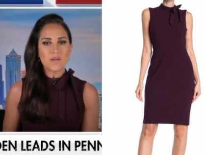 emily compagno, fox news, purple tie neck sheath dress