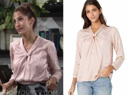 lily winters, pink jacquard snakeskin top, christel khalil, the young and the restless