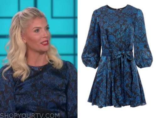 amanda kloots, the talk, blue and black floral dress