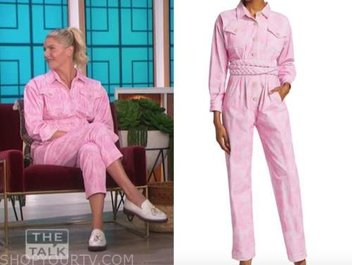 amanda kloots, the talk, pink tie dye denim jumpsuit