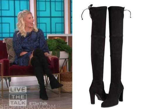 amanda kloots, black suede over the knee boots, the talk